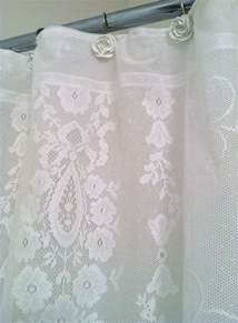 ivory lace shower curtain lake words shower curtain