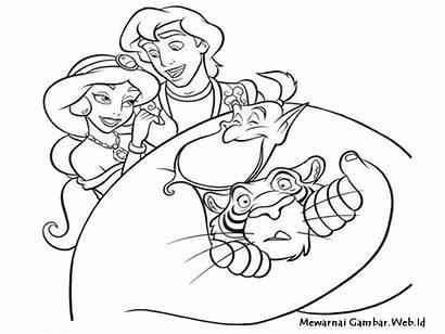 Aladin Gambar Mewarnai Aladdin Dan Lampu Jin