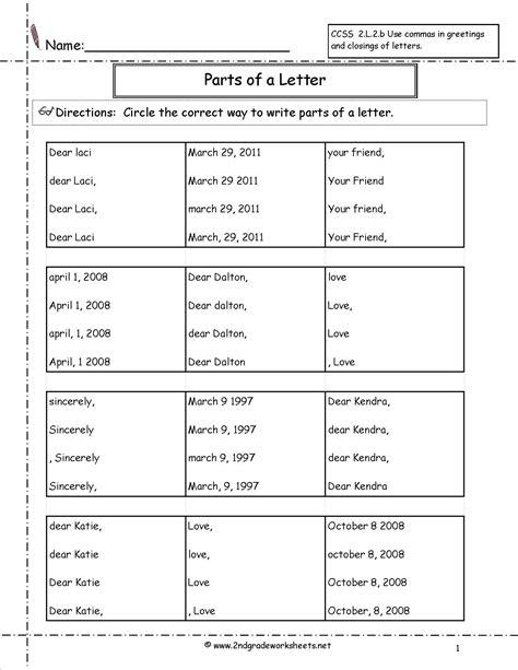 letters  parts   letter worksheet