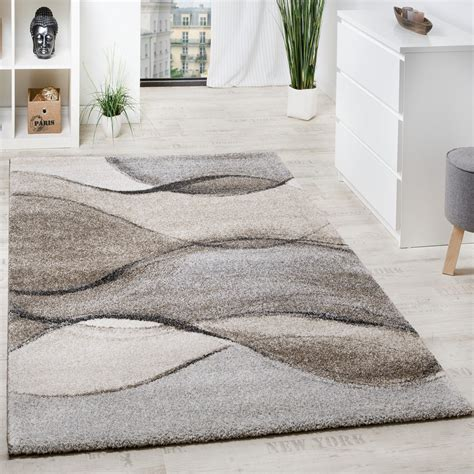 tapis poil beige woven carpet modern high quality with wave look mottled in grey beige carpets pile rugs