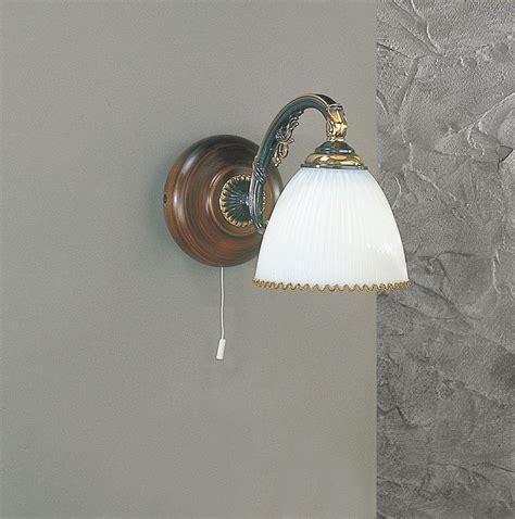applique legno applique in ottone legno e vetro soffiato 1 luce verso