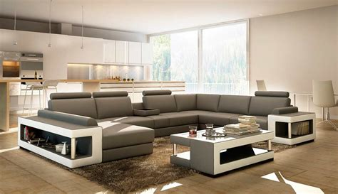 grey and white leather sectional sofa with coffee table