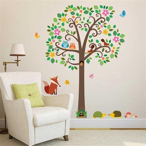 Wandtattoo Leseecke Kinderzimmer by Wandsticker Gro 223 Er Baum Mit Waldtieren Wandsticker