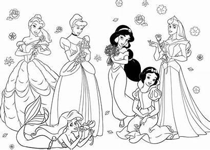 Coloring Disney Pages Together Princesses Princess Getdrawings