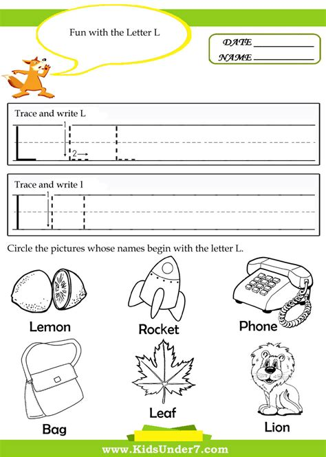 free letter l worksheets for kindergarten free