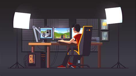 Pro Gamer Live Streaming Playing Game Sitting In Gaming