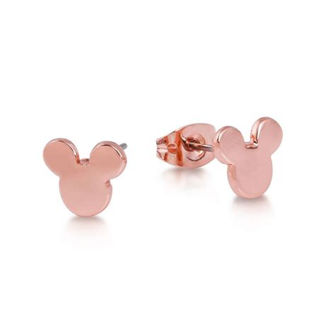disney rose gold plated mickey mouse head stud earrings