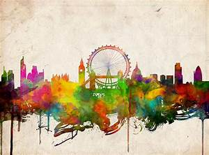 London Skyline Watercolor 2 Painting by Bekim Art