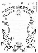 Birthday Coloring Cards Card Happy Template Kittybabylove Gorgeous Source sketch template