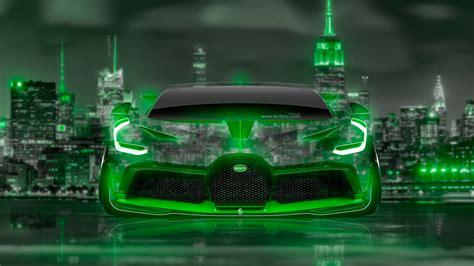 bugatti divo front super neon crystal  york night city