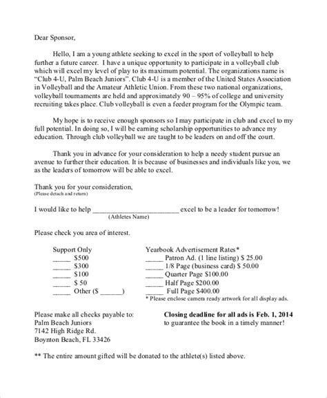 sports sponsorship letter samples   ms