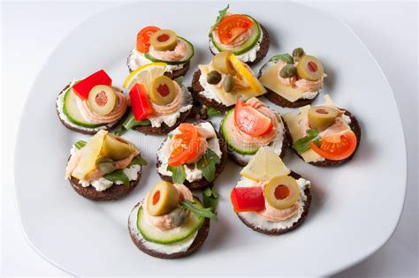 fresh canapes mini canapes stock image image of starter fresh
