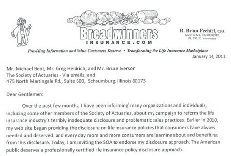 Quick underwriter response on system referrals; BreadwinnersInsurance.com - Trustworthy life insurance agent - Letter to Society of Actuaries ...