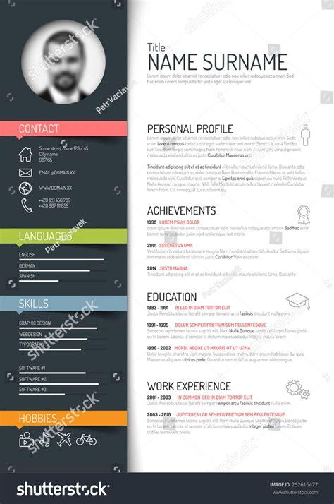 vector minimalist cv resume template dark color