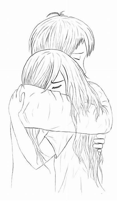Hugging Anime Hug Drawing Couple Lineart Deviantart