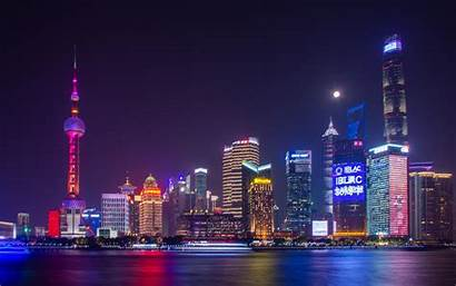 4k Shanghai Cityscape Night Buildings Skyscrapers Wallpapers