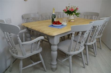 6ft farmhouse table and 8 fiddleback chairs painted