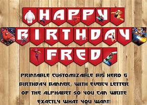 Big hero 6 birthday banner instant instbirthday for Happy birthday big letters