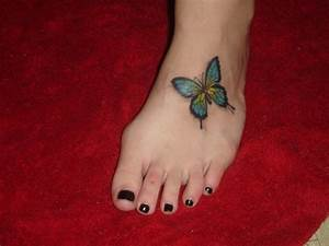 Butterfly Foot Tattoo Designs For Girls and Women