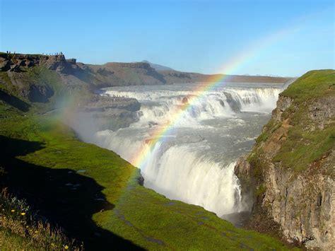 rainbow in gullfoss waterfall iceland amazing photo