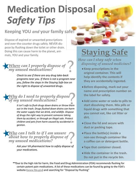 medication disposal safety tips va greater los angeles healthcare system