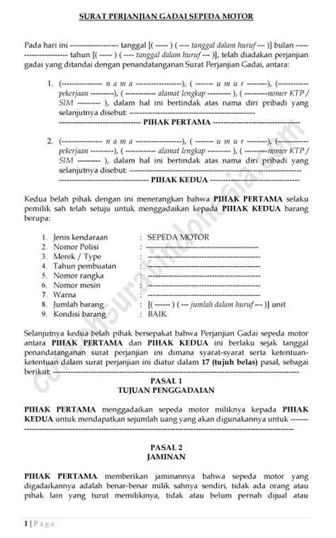Contoh Surat Perjanjian Gadai Mobil Mesin Gerinda Dan Bor Terlengkap