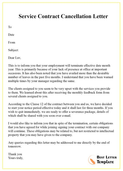cancellation letter  contract format sample
