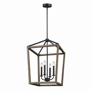 Feiss Gannet 4-Light Weathered Oak Wood and Antique Forged
