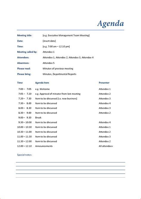 Agenda Template 3 Meeting Agenda Exles Bookletemplate Org