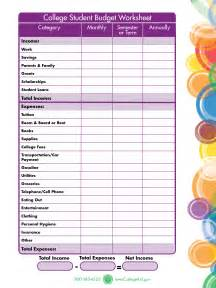 College Student Budget Worksheet Printable