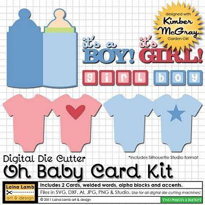 Download free svg files to use with your silhouette or cricut cutting machine. Baby card svg kit. Used this for baby shower cards C.W ...