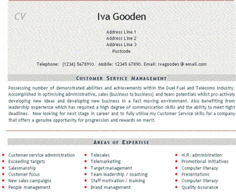 cv profile exles for customer service customer service cv customer service cv templates cv services