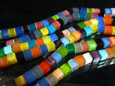 occhio  gatto perle cubo mm multicolore vetro catena