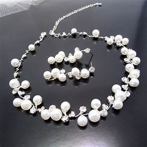 Bridal pearl necklace set wedding jewelry set bridal for Wedding ring necklace