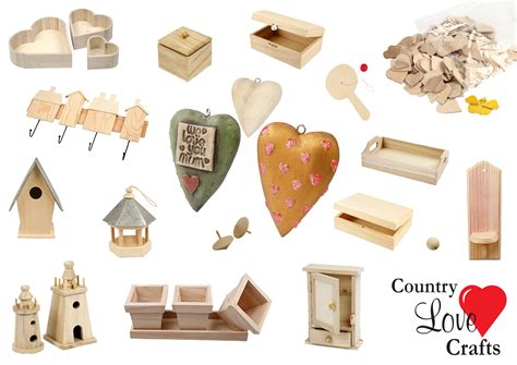 country love crafts  wood shapes unpainted craft blanks