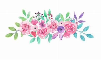 Watercolor Flower Bouquet Purple Arrangement Floral Garland