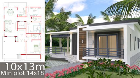 House Plans 10x13m with 3 Bedrooms SamHousePlans