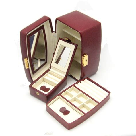 wolf designs genuine leather travel jewelry box burgundy
