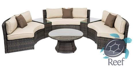 wicker rattan sofa curved moon set outdoor patio yard pool