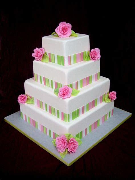 Cake Band One Stop Wedding Square Wedding Cakes With Ribbon