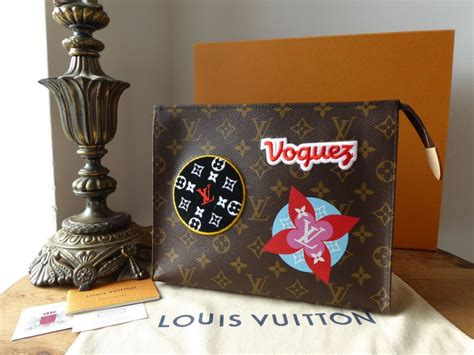 louis vuitton limited edition toiletry  pouch  monogram patches  stickers sold