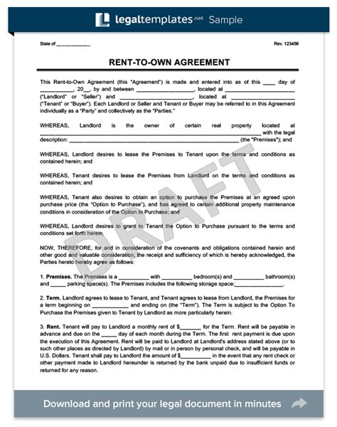 Rent To Buy Agreement Template Rent To Own Agreement Create A Free Lease To Own Lease