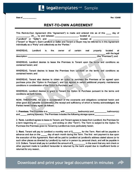 Renttoown Agreement  Create A Free Renttoown Lease