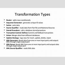 Transformation Types In Informatica By Quontra Solutions