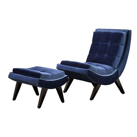 homesullivan blue velvet chair and ottoman set 40876s351s
