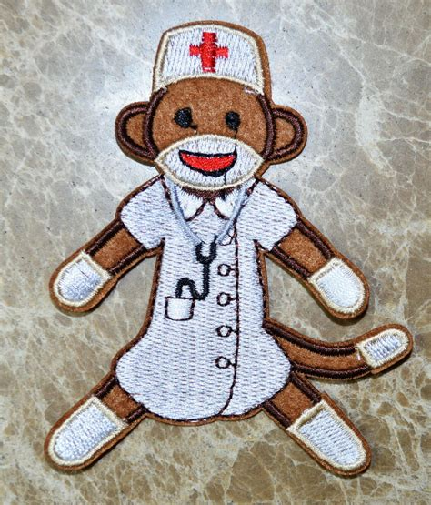 monkey applique sock monkey embroidered applique iron on patch cloth
