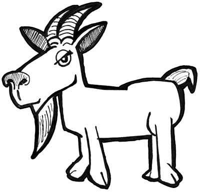 draw cartoon billy goats  simple drawing
