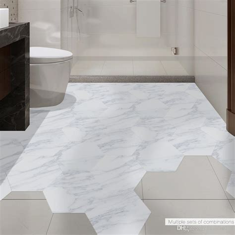 marble tile decorative white floor stickers diy hexagon
