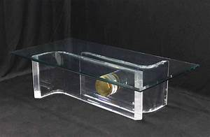 large rectangular glass top thick lucite and brass base With acrylic coffee table base