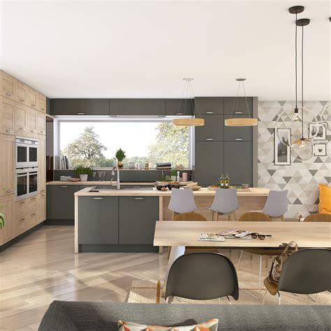 cuisine ouverte grise cuisine grise maison